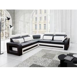 ELTAP Rohová sedačka BERGAMO 01 pravá, černá ekokůže/bílá ekokůže DOPRODEJ látková s úložným prostorem