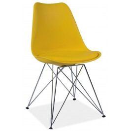 Elegantní smartshop Jídelní židle TIM žlutá ekokůže
