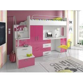 Smartshop Patrová postel se skříní a psacím stolem RAJ 4S, bílá/růžová lamino