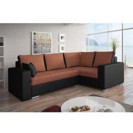 Smartshop Rohová sedačka VALERIO BIS 5 pravá, oranžová látka/černá ekokůže dřevěná