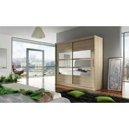 Smartshop Šatní skříň BEGA III, dub sonoma/zrcadlo lamino