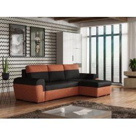Univerzální smartshop Rohová sedačka FILO, černá látka/oranžová látka
