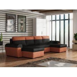 Rozkládací smartshop Rohová sedačka FILO U, černá látka/oranžová látka