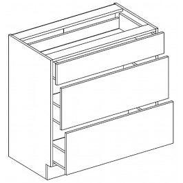 Kvalitní stolkar LAURA, skříňka dolní D80S3, červený lesk DOPRODEJ