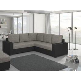 Univerzální černá ELTAP Rohová sedačka CANIS 03, šedá látka/černá ekokůže s úložným prostorem