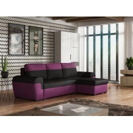 Univerzální smartshop Rohová sedačka FILO, černá látka/fialová látka