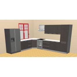 Extom Rohová kuchyně TITANIUM 240 x 370 cm, dvířka fino černé, korpus bílý lamino