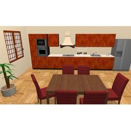 Smartshop Kuchyně MELOS 480 cm, korpus wenge, dvířka bříza orange dřevěná