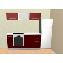 Červená extom Kuchyně PLATINUM 180 cm, korpus bílý, dvířka deep red lamino lesk