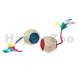 Hračka pro kočky FLAMINGO - sisalový míček s peřím, chrastítkem