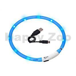 Svítící obojek FLAMINGO Visio Light modrý s LED diodami 70cm (up