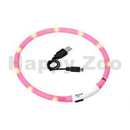 Svítící obojek FLAMINGO Visio Light růžový s LED diodami 70cm (u