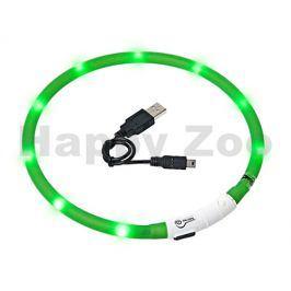Svítící obojek FLAMINGO Visio Light zelený s LED diodami 70cm (u