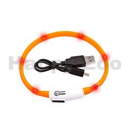 Svítící obojek FLAMINGO Visio Light oranžový s LED diodami 35cm