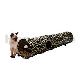 Plyšový tunel pro kočky FLAMINGO Leopard 25x130cm