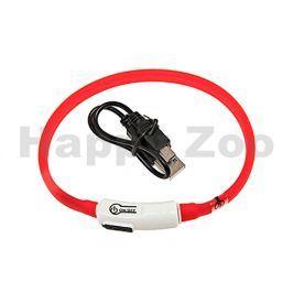 Svítící obojek FLAMINGO Visio Light červený s LED diodami 70cm (