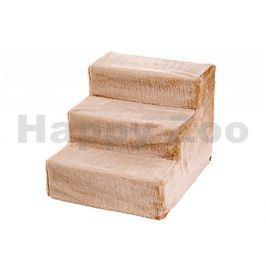 Schody dřevěné FLAMINGO pro psy a kočky béžové 43x41x29cm