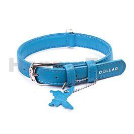 Obojek COLLAR Glamour Soft kožený modrý 0,9x18-21cm (DOPRODEJ)