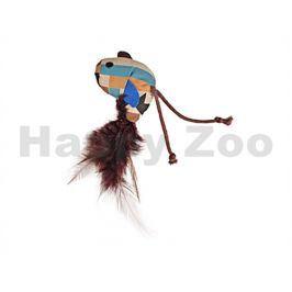 Hračka pro kočky FLAMINGO - Aztec ptáček s peřím 6cm