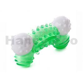 Hračka JK guma TPR - nylonová kost zelená 13x6x3cm