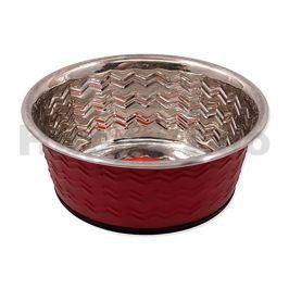 Nerezová miska DOG FANTASY tepaná kulatá červená 350ml