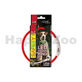 Svítící obojek DOG FANTASY LED nylonový červený (S-M) 45cm