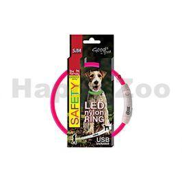 Svítící obojek DOG FANTASY LED nylonový růžový (S-M) 45cm