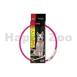 Svítící obojek DOG FANTASY LED nylonový růžový (M-L) 65cm