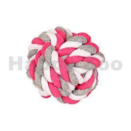 Hračka FLAMINGO bavlna - míč růžovobílošedý 8,5cm
