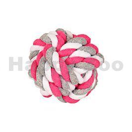 Hračka FLAMINGO bavlna - míč růžovobílošedý 15cm