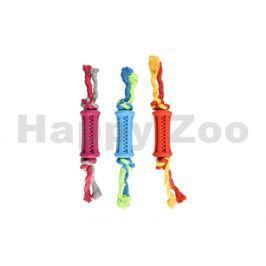 Hračka FLAMINGO guma - dentální tyč s provazem 9cm (MIX BAREV)