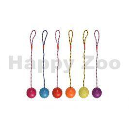 Hračka FLAMINGO guma - přetahovadlo s míčem s rolničkou 8cm (MIX
