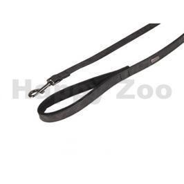 Vodítko FLAMINGO Delu z umělé kůže černé 2x100cm