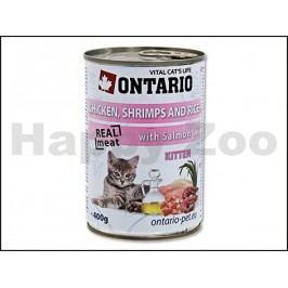 Konzerva ONTARIO Cat Kitten Chicken, Schrimps & Rice with Salmon