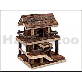 Dřevěný domek SMALL ANIMALS s kůrou dvoupatrový 17x15x20cm