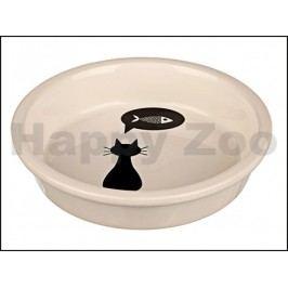 Keramická miska TRIXIE bílá s černou kočkou 0,25l (13cm)