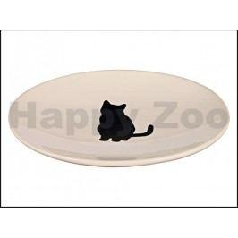 Keramická miska TRIXIE bílá s černou kočkou mělká 18x15cm