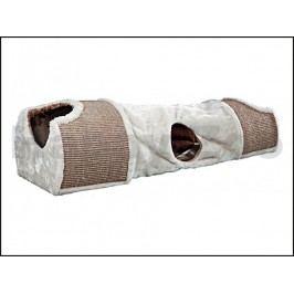 Plyšový škrábací tunel pro kočky TRIXIE šedohnědý 110x30x38cm