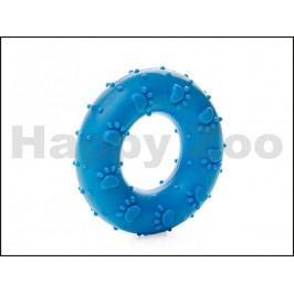 Hračka JK guma TPR - kroužek s kostmi modrý 7cm