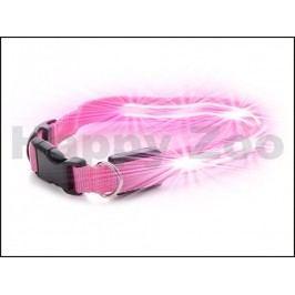 Svítící/blikající obojek JK LED růžový (XS) 2x29-37cm