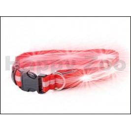 Svítící obojek JK LED červený (M) 2,5x40-48cm