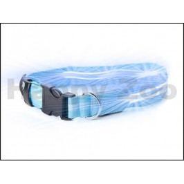 Svítící obojek JK LED modrý (M) 2,5x40-48cm