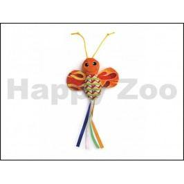 Hračka pro kočky JK - motýl šustící oranžový 28cm
