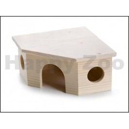 Dřevěný rohový domek JK rohový pro křečky 17,5x17,5x9cm
