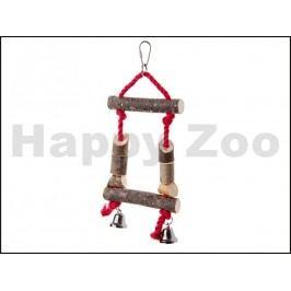 Hračka pro ptáky JK - dřevěná houpačka se zvonky a provázky 28cm