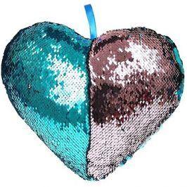 Polštářek ve tvaru srdce s flitry modrý