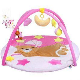 PlayTo hrací deka s melodií spící medvídek - růžová