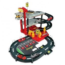 Bburago Ferrari Race & Play Parking Garage + 4ks auto Ferrari 1:43