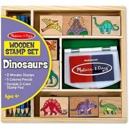 Dřevěná razítka v krabičce Dino