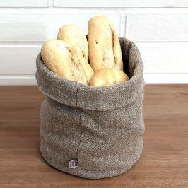 Košík na pečivo lněný L Výška: 20 cm, průměr: 18 cm béžová